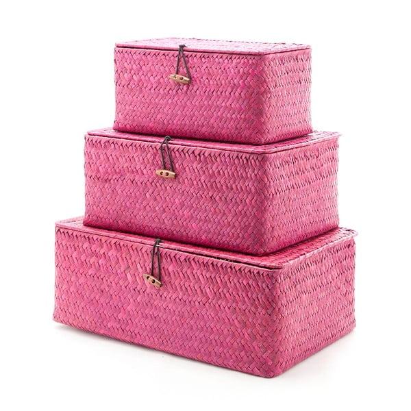 Sada 3 krabic Balk Burgundy