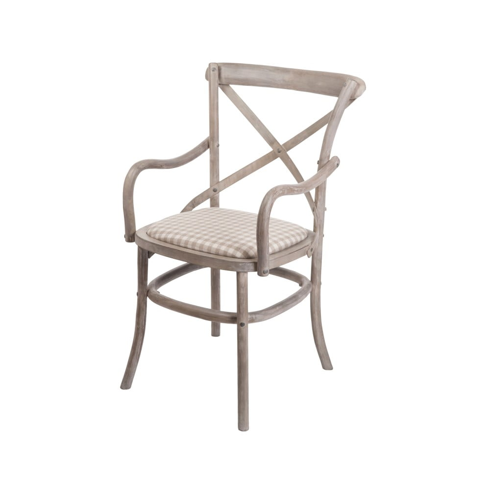 Béžová židle s područkami z březového dřeva Livin Hill Venezia