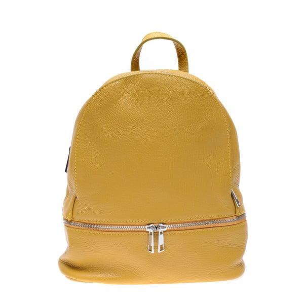 Žltý kožený batoh na zips Anna Luchini