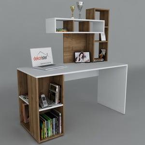 Pracovní stůl Coral White/Walnut, 60x140x153,8 cm