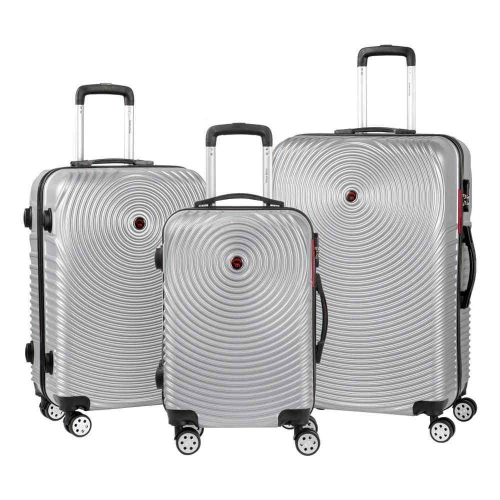 Sada 3 šedých cestovních kufrů na kolečkách Murano Traveller