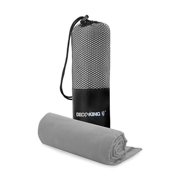 Set šedé rychleschnoucí osušky a ručníku DecoKing EKEA, 70 x 140 cm + 30 x 50 cm