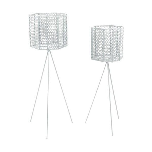 Sada 2 bílých kovových stojanů na květináče PT LIVING Hexagon