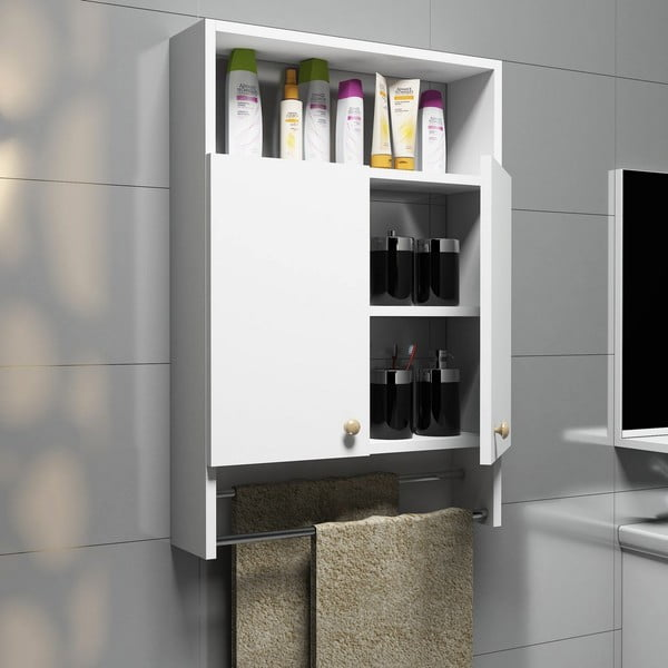 Bílá koupelnová skříňka s věšákem na ručníky, Bathroom Cabinet