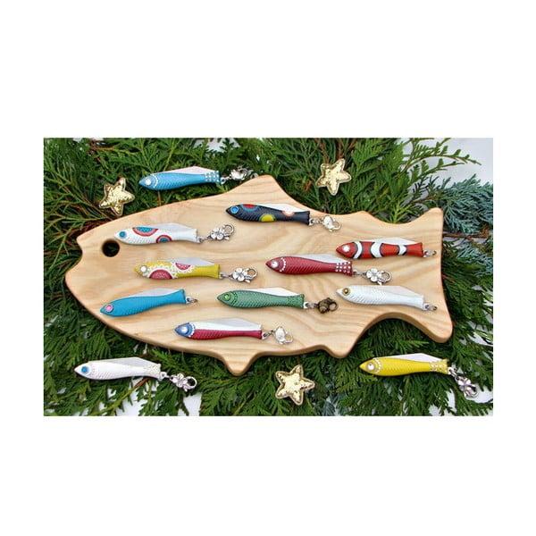 Sada 2 zlato-stříbrných vánočních nožíků rybiček v plechové krabičce