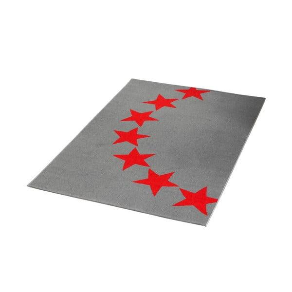 Koberec City & Mix - šedo-červené hvězdy, 140x200 cm