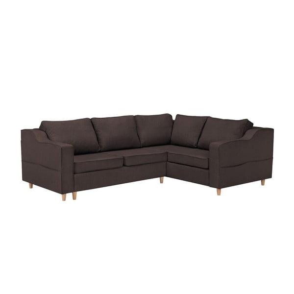 Jonquille sötétbarna négyszemélyes kinyitható kanapé, jobb oldali kivitel - Mazzini Sofas