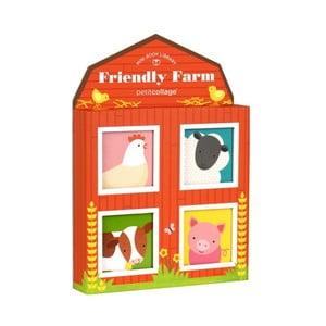 Sada 4 obrázkových knížek Petit collage Friendly Farm