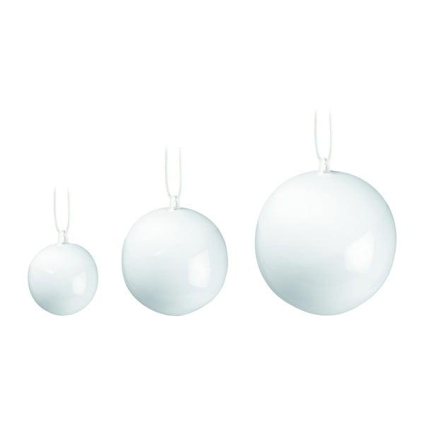 Set 3 globuri de Crăciun din porțelan chinezesc Kähler Design Nobili, alb