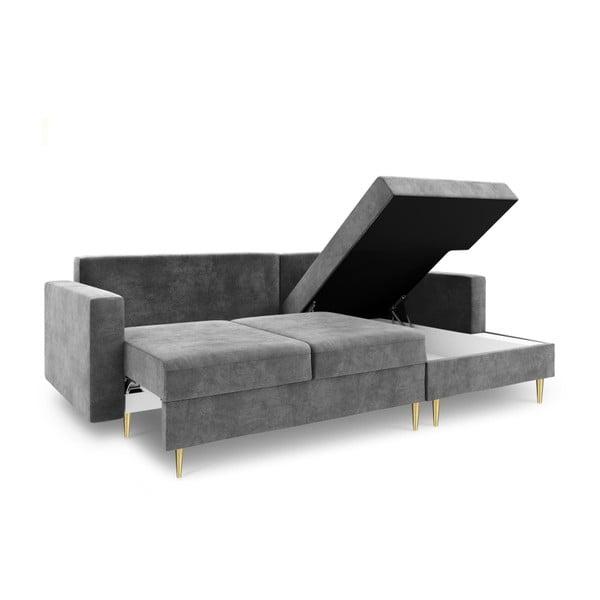 Světle šedá čtyřmístná rozkládací pohovka s úložným prostorem Mazzini Sofas Muguet, pravý roh