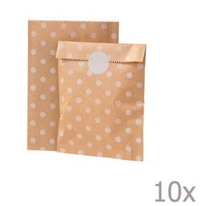 Sada 10 papírových sáčků Kraft Dot