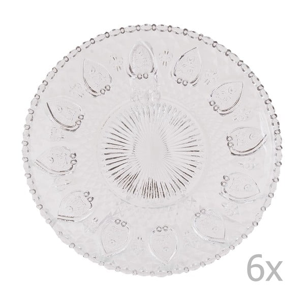 Sada 6 skleněných podnosů Clayre, 20 cm