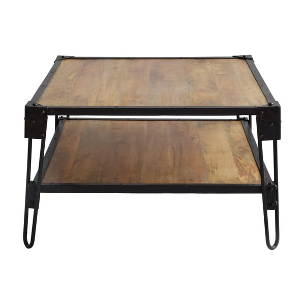 Konferenčný stôl z mangového dreva a recyklovaného kovu RGE Bangalore, 75 x 75 cm