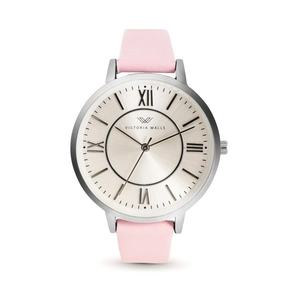 Dámské hodinky s růžovým koženým řemínkem Victoria Walls Classy