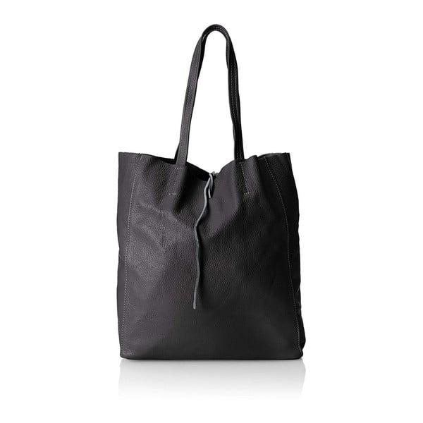 Černá kožená kabelka Chicca Borse Marhola