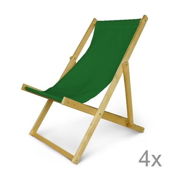 Sada 4 dřevěných nastavitelných lehátek JustRest, lahvově zelené