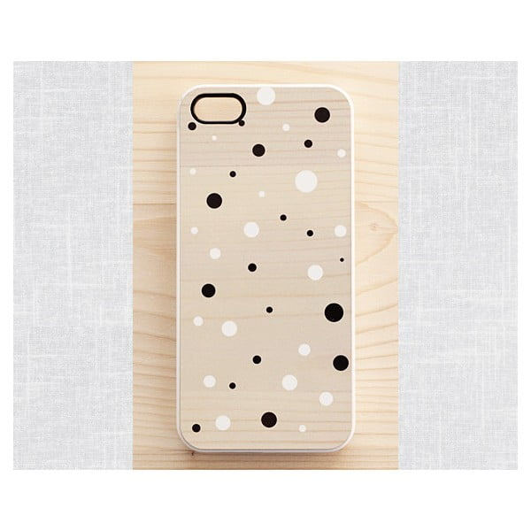 Obal na iPhone 4/4S, Black&White Dots on Wood/White