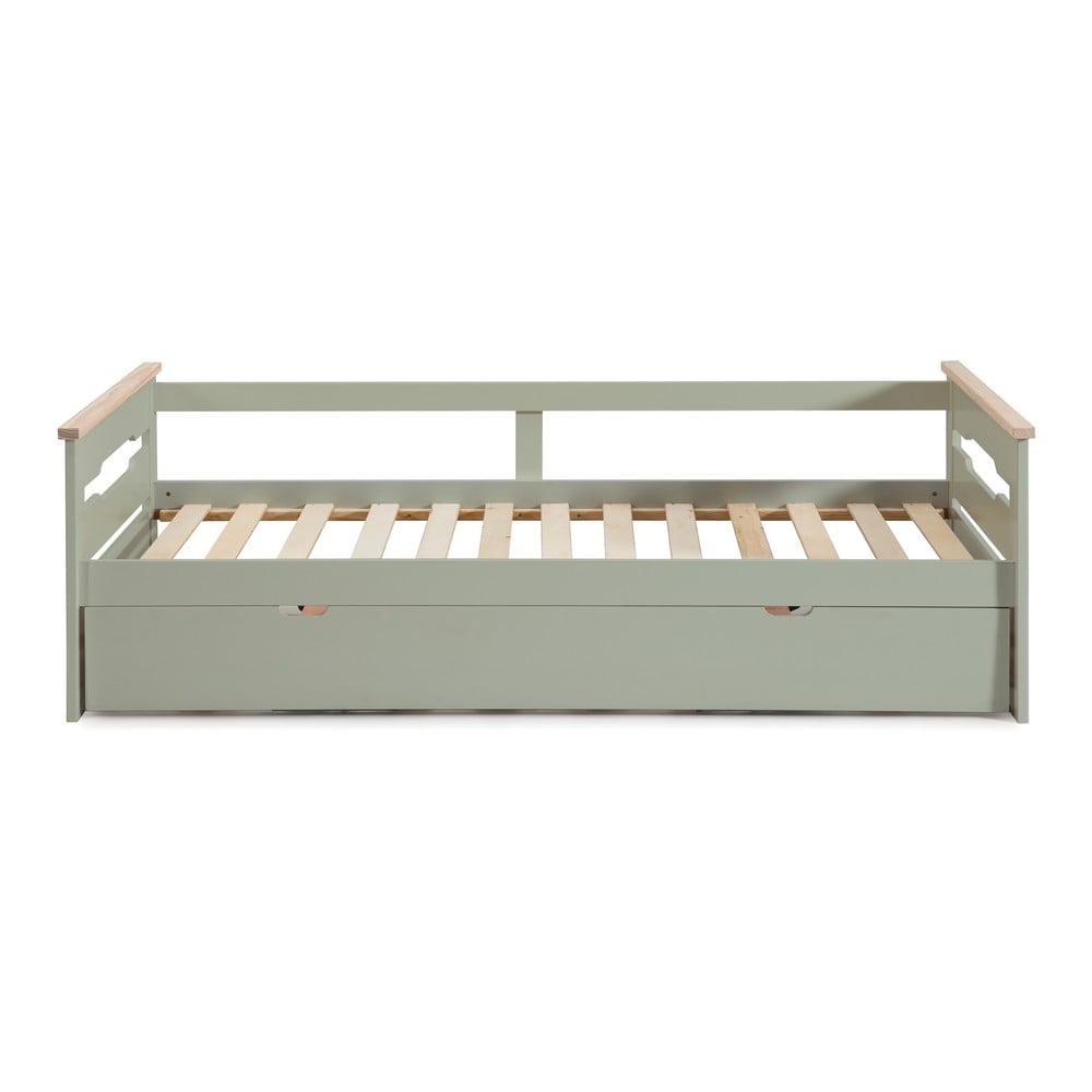 Zelená dětská postel s výsuvným lůžkem Marckeric Elisa,90x190cm