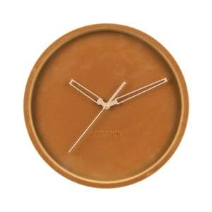 Karamelově hnědé sametové nástěnné hodiny Karlsson Lush,ø30cm