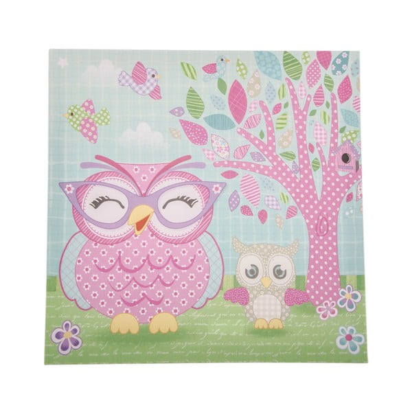 Obraz na plátně Pink Owl, 36x36 cm