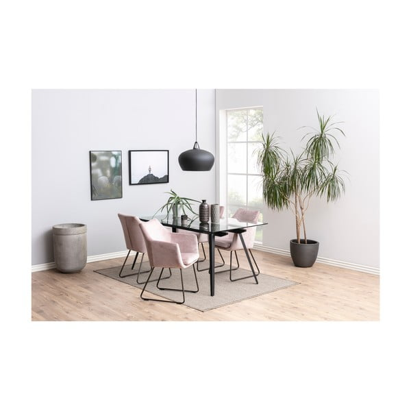 Světle růžová polstrovaná jídelní židle Actona Nora