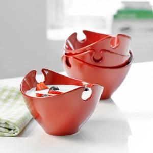 Sada 4 ks červených porcelánových misek Steel Function Milano