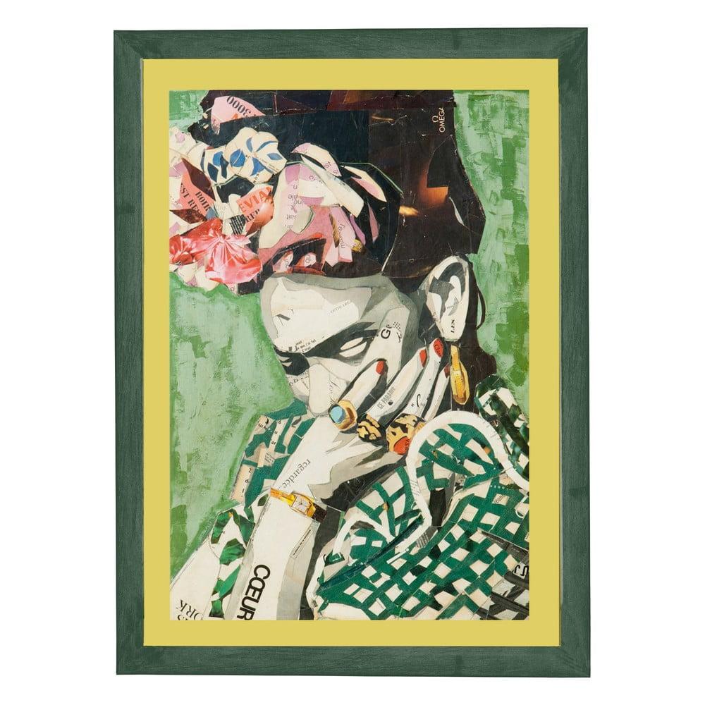 Nástěnný obraz v rámu Surdic Green Frida, 30 x 40 cm