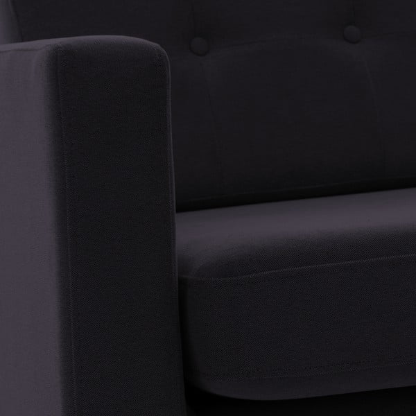 Tmavě šedá trojmístná pohovka Vivonita Sondero, levá strana a černé nohy