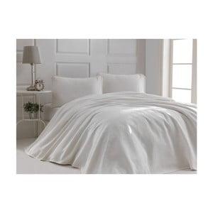 Bílý set bavlněného přehozu přes dvoulůžko a 2 povlaků na polštáře Sal, 220 x 240 cm
