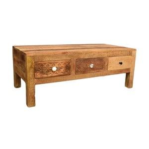 Konferenční stolek z masivního mangového dřeva se 3 zásuvkami Massive Home Ella, délka120cm