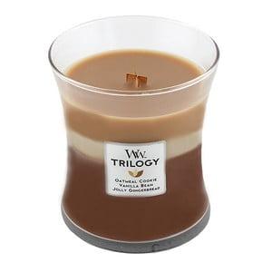 Lumânare parfumată a WoodWick Trilogia Miros de zahăr, 275g, 60 ore