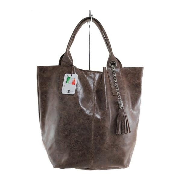 Hnědá kožená kabelka Chicca Borse Toti