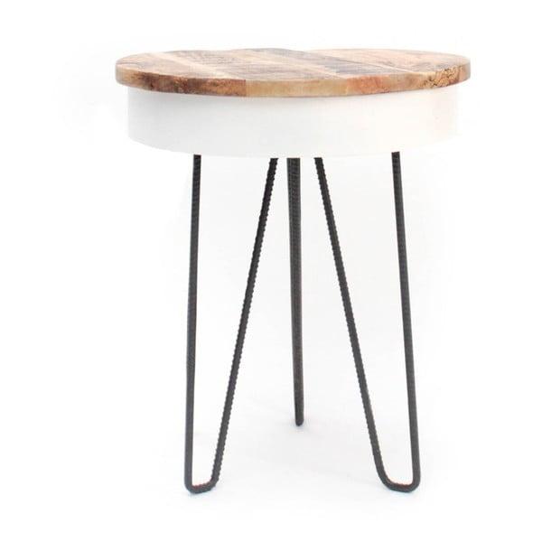 Saria fehér tárolóasztal fa asztallappal - LABEL51