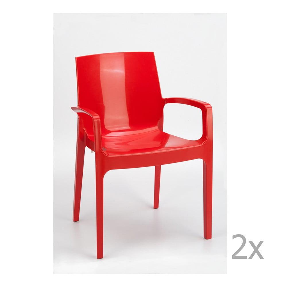 Sada 2 červených jídelních židlí Castagnetti Cream