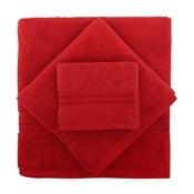Set 3 červených ručníků z bavlny a osušky Rainbow