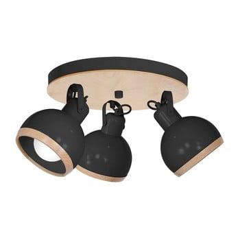 Plafonieră cu detalii din lemn Oval Tres Runo, negru imagine