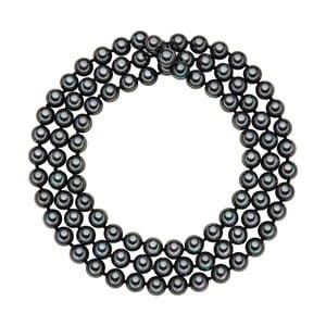 Lănțișor cu perle negru antracit Perldesse Muschel, ⌀ 8 mm, lungime 90 cm