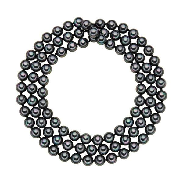 Náhrdelník s antracitově černými perlami ⌀8 mm Perldesse Muschel, délka 90 cm