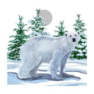 Balení 10 papírových ubrousků s vánočním motivem PPD Snow Bear