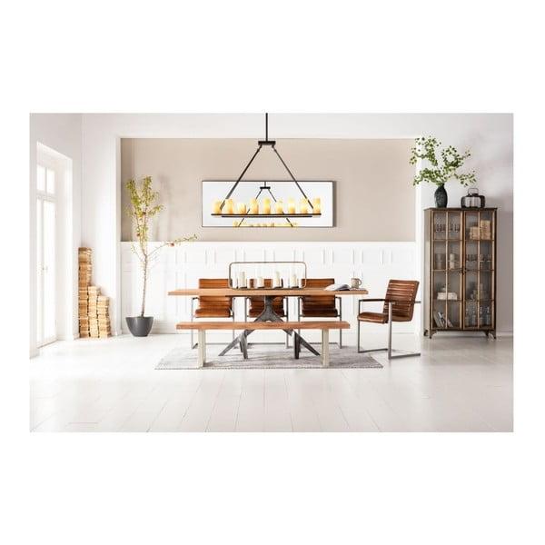Lavice z akáciového dřeva a kovu Kare Design Pure Nature, 180 x 45 cm