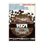 Plakát Porsche Rennplakat Weltmeister 1971, 70x50 cm