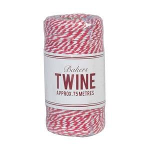 Șnur Rex London Bakers Twine, 75 m, alb-roșu