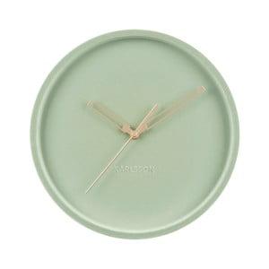 Jadeitově zelené sametové nástěnné hodiny Karlsson Lush,ø30cm