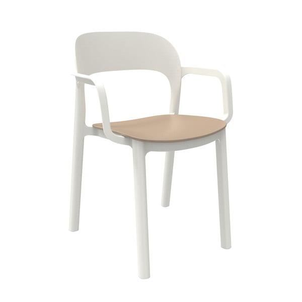 Zestaw 4 białych krzeseł ogrodowych z piaskowobrązowym siedziskiem i podłokietnikami Resol Ona
