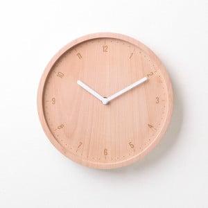 Bílé hodiny z bukového dřeva Qualy&CO Allday Round