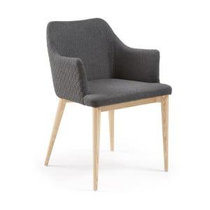 Scaun cu picioare din lemn și cotiere La Forma Danai, gri închis