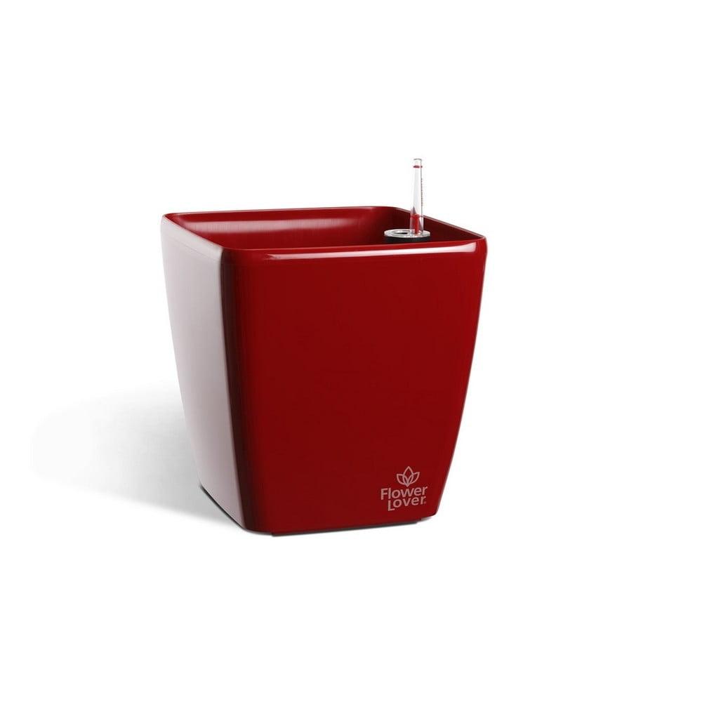 Červený samozavlažovací květináč Flower Lover Quadrato, 18x18cm