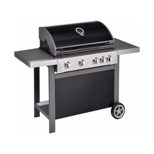 Černý plynový gril se 4 samostatně ovladatelnými hořáky, teploměrem a bočním ohřívačem Jamie Oliver BBQ
