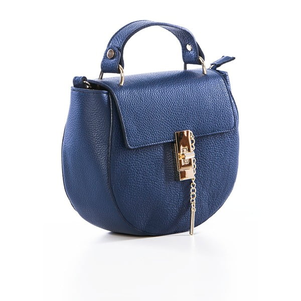 Tmavě modrá kožená kabelka Federica Bassi Virgin
