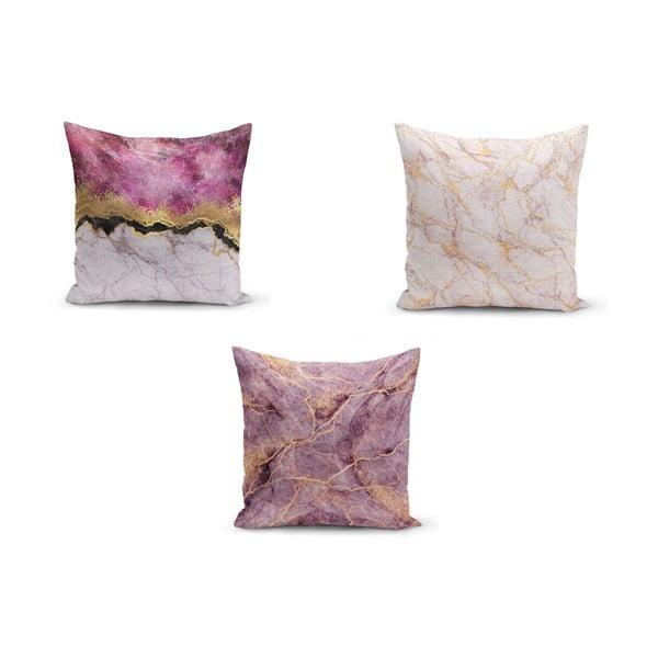 Set 3 fețe de pernă Minimalist Cushion Covers Pinkie Cassie, 45 x 45 cm